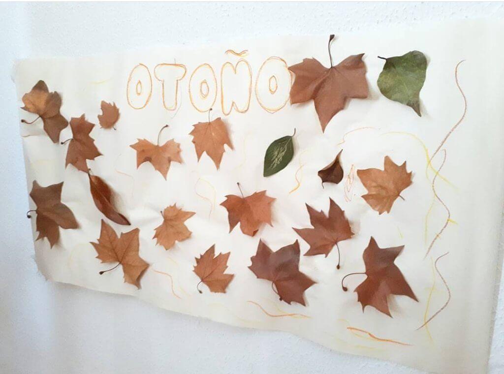 hacer un mural de otoño niños