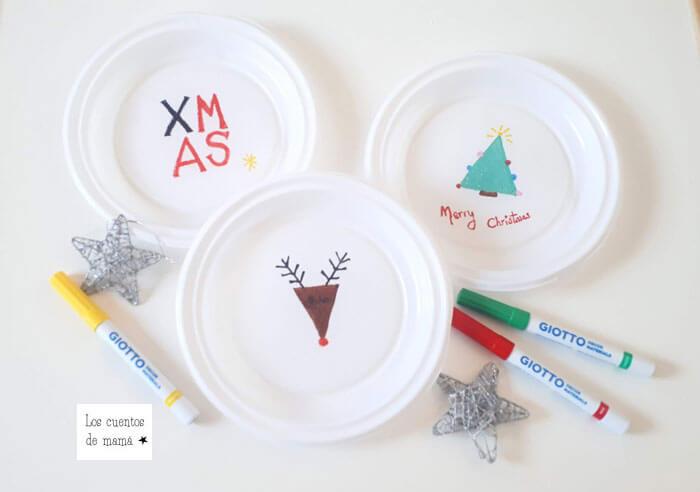 manualidades de navidad con platos desechables