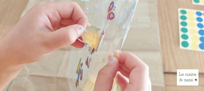 como usar pegatinas para niños